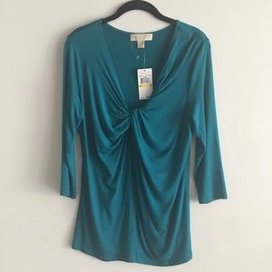 NWT Michael Kors Peacock Blue Twisted Front Top